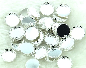 Silver plated Round brass lace edge bezel cameo settings for cabochon Setting 12mm setting bazel-filigree pendant base connector--G1851