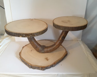 Very Large Tree Slice Cupcake Stand, Rustic Wedding Cake Stand, Treat Display Stand, Table CenterPiece, Flower Pot Holder, Candle Display
