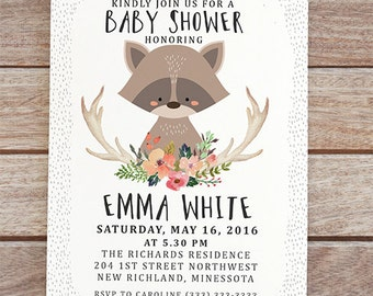 raccoon baby shower invitation, woodland birthday invitation, invite with raccoon, printable shower invite, gender neutral baby shower 149