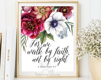 Bible Verse Art wall decor printable walk by faith Scripture art Christian wall decor inspirational quote Corinthians 5 7 Digital Print 3-99