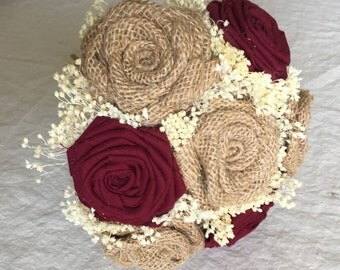 Small Bridesmaids Bouquet In Natural & Burgundy, Burlap Bouquets, Bridesmaids Bouquets, Burgundy Bouquets, Alternative bouquets, Bouquets