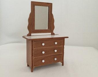 Dollhouse Miniature Bedroom Furniture: Handmade, Wooden Dresser, Bedroom, Bathroom, and Entry 1/12 scale.
