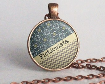 Fictionista Necklace - Book Lover Necklace - Copper - Reader - Writer - Librarian Gift (B4872)