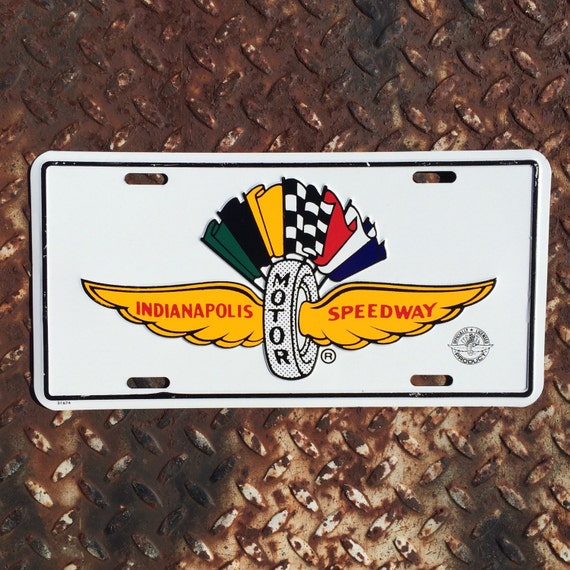Indianapolis motor speedway metal license plate vintage car for Indianapolis motor speedway clothing