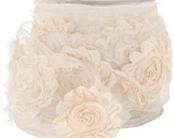 """May Arts Ivory 2.5"""" Sheer Frayed Flowers Wired Ribbon. Vintage, Shabby Chic Style. Crafting Supplies, Decorative, Gift Wrapping, Upholstery."""