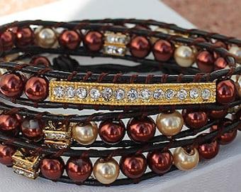 Bracelet Leather Wrap, Brown Bracelet, Beaded Bracelet, Beaded Wrap Bracelet