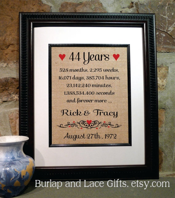Wedding Gift For 44 Years : 44th Anniversary 44 Years Together Years Months Weeks Days