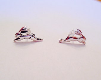 Leaping Hare sterling silver stud earrings - solid high quality silver - with gift box