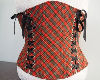 READY TO SHIP 28'' Red Green Tartan Check Underbust Waist Cincher Corset with Three Lacings and Steel Bones