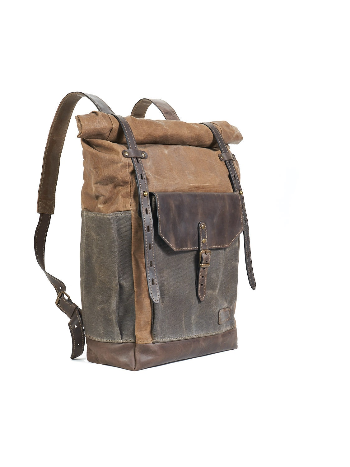 Brown waxed canvas backpack. Waxed canvas leather