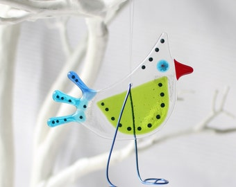 handmade gift | lime paradise birdy bird | mothers day gift | spring bird | fused glass bird