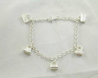 "7"" sterling silver handbag charm bracelet traditional with 5 charms 13.5g"