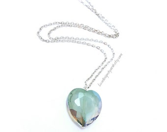Heart necklace, AB crystal faceted glass necklace,  gift for her