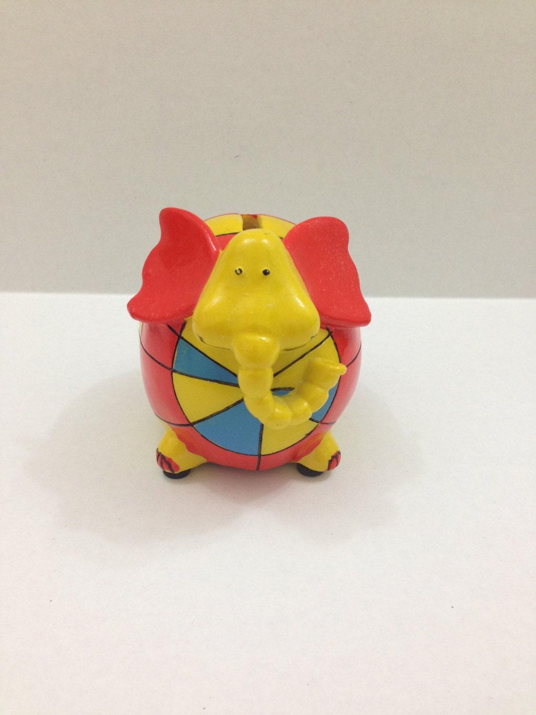 Ceramic patch work elephant piggy bank orange blue and yellow - Ceramic elephant piggy bank ...
