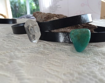 Black leather chocker with gemstones and crystals