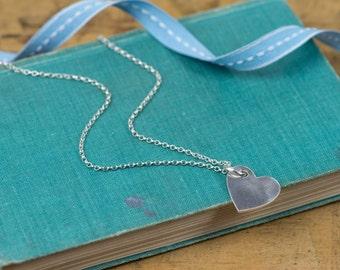 Silver Heart Pendant - Silver Heart Necklace - Silver Heart Charm - Heart Charm Necklace - Heart Charm Pendant - Fine Silver Heart Necklace