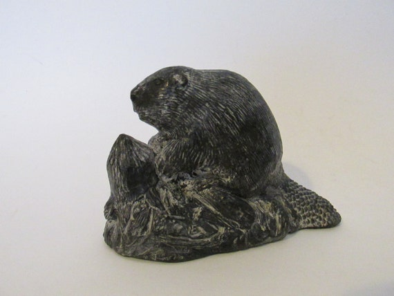Vintage beaver figurine hand made in canada a wolf original