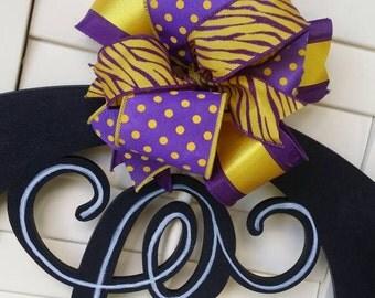 LSU Football Monogram Door Hanger Louisiana Football Decor Louisiana Football Purple Gold Football LSU Tigers Football Decor Custom