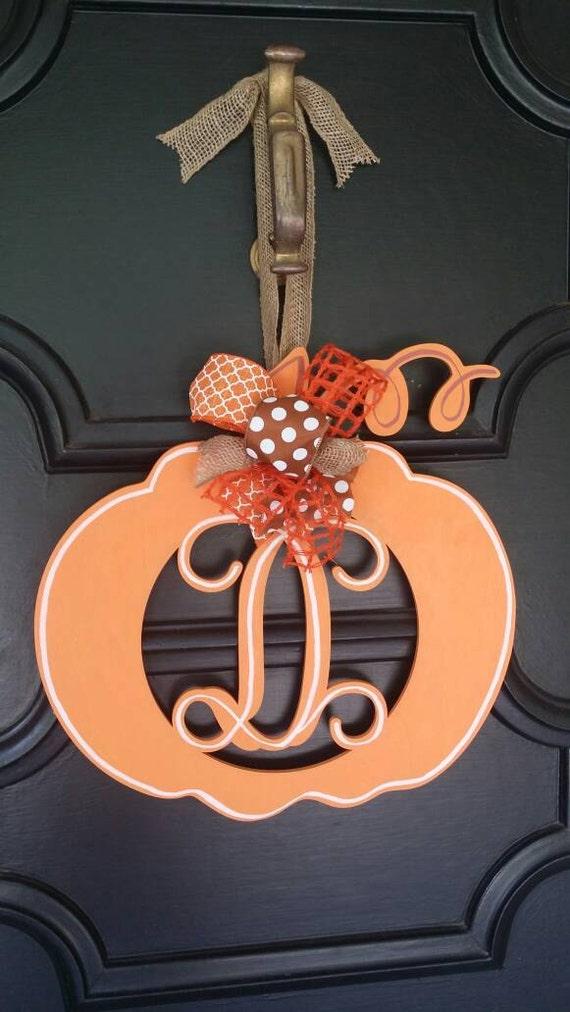 Monogram Pumpkin Door Hanger