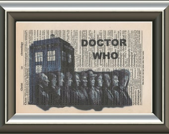 Dr Who incarnations with the Tardis Vintage Mounted Art Print. An original antique, victorian,dictionary book page
