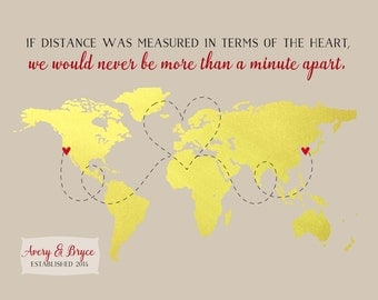 Long Distance Boyfriend Christmas, Gift Personalized Gift Ideas Military Deployment for Husband Wife Quote Love State U.S. Country World Map
