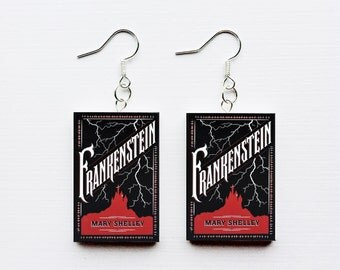 Frankenstein mini book earrings