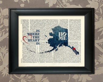 Alaska Art Print, Alaska Print, Alaska Map Art, Alaska Wall Art, Alaska Pride, Alaska Map Print, Alaska Map, Alaska Decor, Map of Alaska