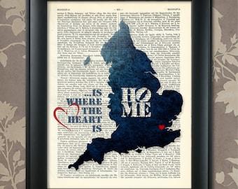 England Art Print, England Print, England Map Art, England Wall Art, England Pride, England Map Print, England Map, Map of England, England