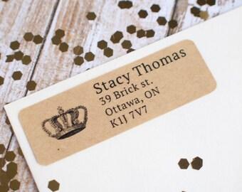Vintage crown return address custom sticker label brown kraft