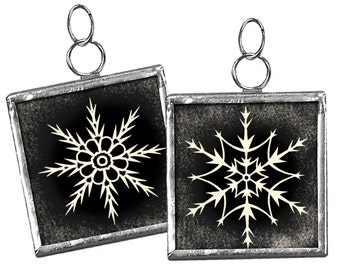 "Christmas Snowflake #34 ... 1-1/4"" Reversible Framed Charm Ornament -- Reversible"