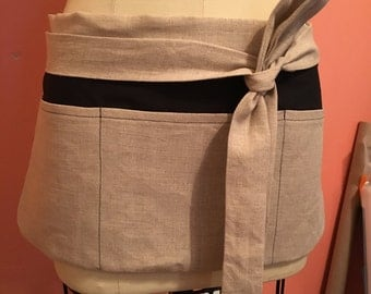 Teacher Apron / Utility Apron Natural Color Linen with Black Cotton Contrast