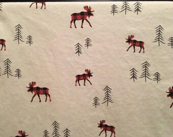 buffalo plaid moose baby blanket//buffalo plaid moose in simple forest blanket//baby blanket//organic cotton blanket