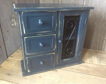 53 -  Jewelry Box - Wood - Metal -Dresser Accessory -Navy Blue - Distressed