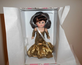 SALE! 38! Vogue Ginny Miss Millennium/Adorable 8' Ginny Doll Dressed in Gold Lame With Ruffled Bottom/Gold Clogs, Gold Opera Length Gloves!!
