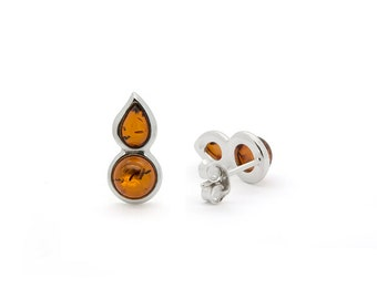Amber Drop Earrings - Teardrop Earrings - Teardrop Stud Earrings - Drop Stud Earrings - Silver Drop Earrings - Amber Stud Earrings -359E3