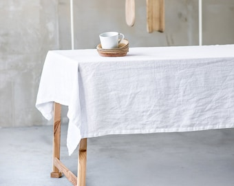 White linen tablecloth. Washed white large handmade linen tablecloth.