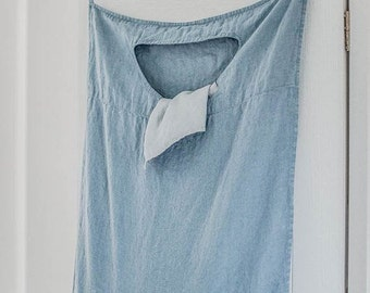 Swedish blue hanging linen laundry bag
