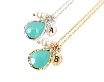 Personalized mint necklace, Mint jewelry, Personalized mint stone necklace, Bridesmaid gift, Bridesmaid necklace, Mint wedding jewelry,