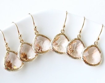10% OFF, Bridesmaid gifts, Set of 7,8,9,10, Peach earrings, Champagne gold earrings, Peach wedding gift earrings, Peach bridal earring