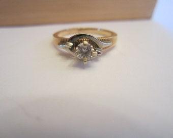 Diamond Engagement Ring, 14k Yellow Gold, Diamond Ring, Wedding Jewellery, April Birthstone