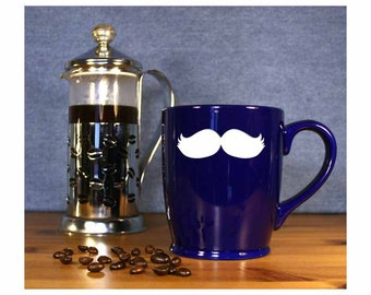 Mustache Coffee Mug -#5 / Moustache Etched Coffee Mug / Large Tea Cup / Ceramic Coffee Mug / Perfect for Tea, Coffee and Hot Chocolate