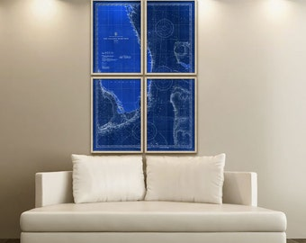 """Florida Nautical Chart 1933, Vintage map of Florida Coast in 6 sizes up to 48x72"""" in 1 or 4 parts, also in blue - Limited Edition of 100"""