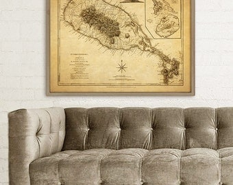 "St Kitts and Nevis map 1775, Old map of St Kitts and Nevis in 4 sizes up to 48x36"" (120x90 cm) also in blue  - Limited Edition of 100"