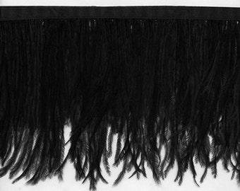 "Black Ostrich Feather Trim 5"" long.  24 Other Colors Available of Long Feather Fringe - Sale! Only 12.95 per yard"