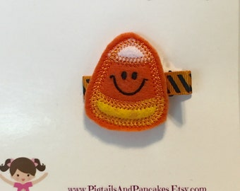 Felt candy corn hair clip