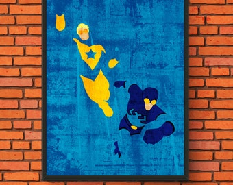 Minimalism Art - Booster Gold and Blue Beetle