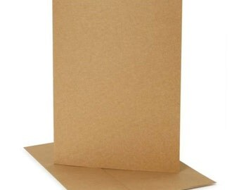 A8 Kraft Cardstock & Matching Envelopes - 25 Sets - A8 FOLDED Kraft Cards with Matching Kraft Envelopes - A8 Envelopes - A8 Cards
