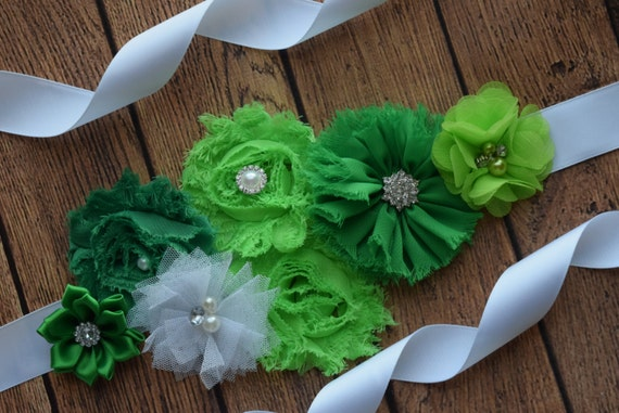 Flower Sash, Green and white Sash , flower Belt, maternity sash