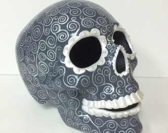 Day of the Dead Skull, skeleton, Dia de los muertos, catrina, calavera, ceramic, handpainted