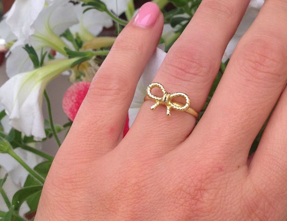 20 off sale small cute bow ring tiny ring simple ring